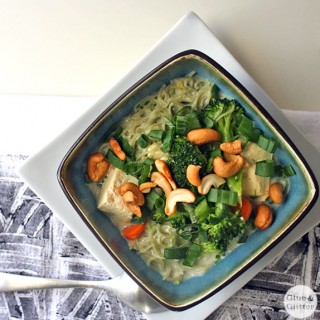 15 Minute Coconut Noodle Soup with Tofu and Vegetables
