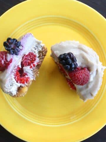 Stuffed Vegan Miniature Mixed Berry Cheesecake