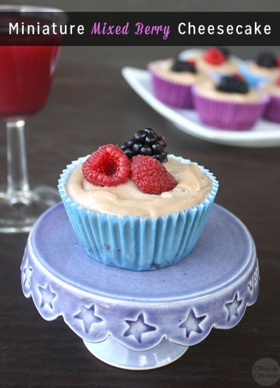 This vibrant, miniature mixed berry cheesecake has a secret ingredient that sneaks in a little bit of healthy goodness.