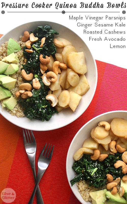 Sweet parsnips, creamy avocado, gingered kale, and cashews on a nutty quinoa buddha bowl!