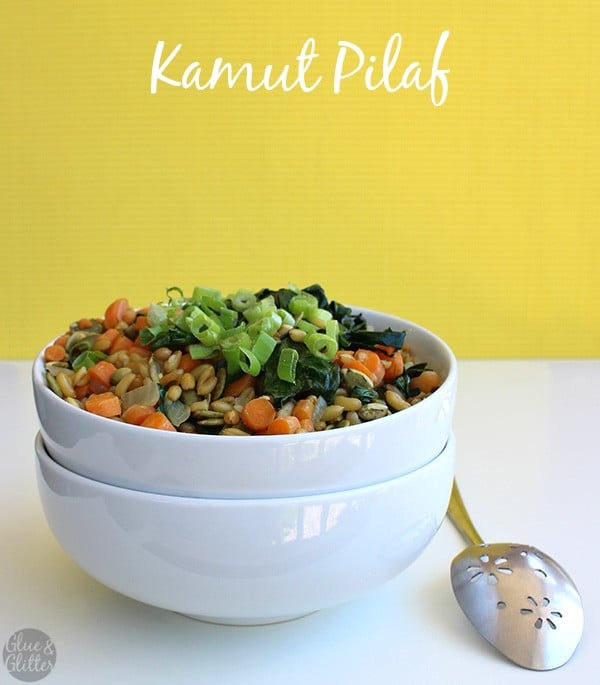 bowl of kamut pilaf on a yellow background