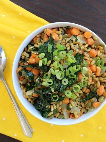 Kamut pilaf makes a great, veggie-ful side dish.