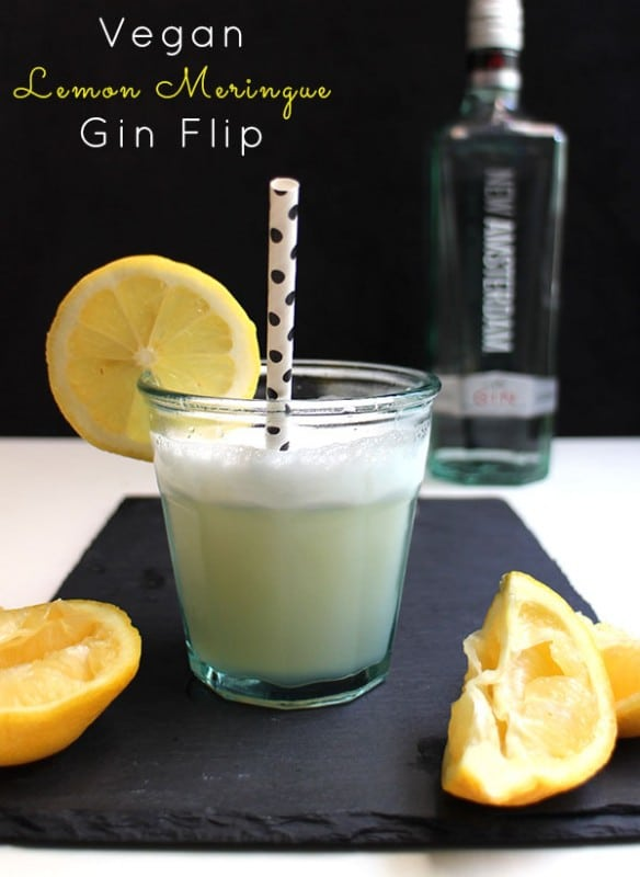 "shot of the lemon gin flip. Text reads: ""Vegan Lemon Meringue Gin Flip"""