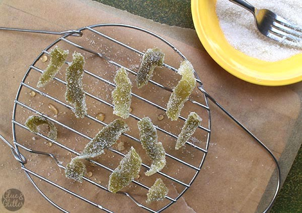 Candied Lime Peels, Coated in Sugar & Drying on the Rack. Yes, that's the steamer tray from my Instant Pot.