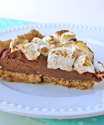 vegan chocolate pie topped with toasted marshmallows