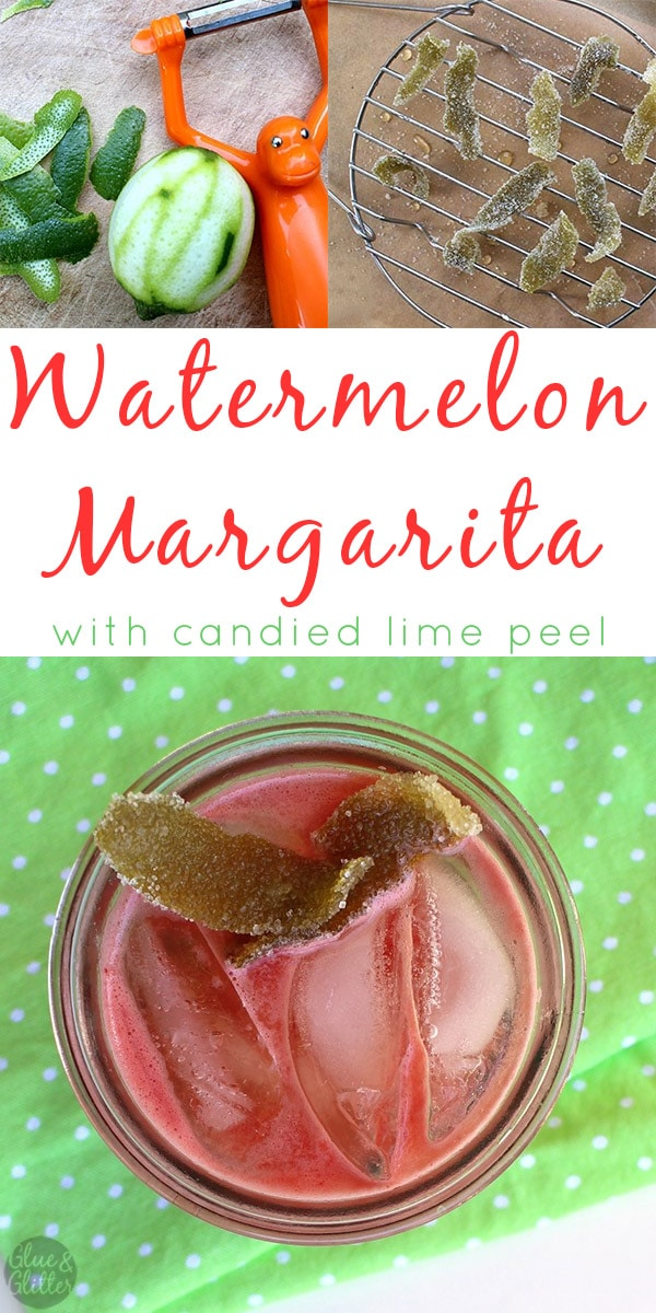 A watermelon margarita with plenty of freshlime juice and a nice piece of sweet-and-tart candied lime peel to balance things out.