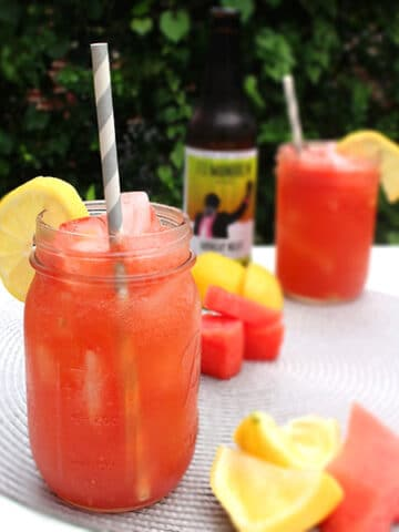 3-ingredient sour watermelon shandy combines fresh fruit with vegan sour beer. It's a real summertime treat!