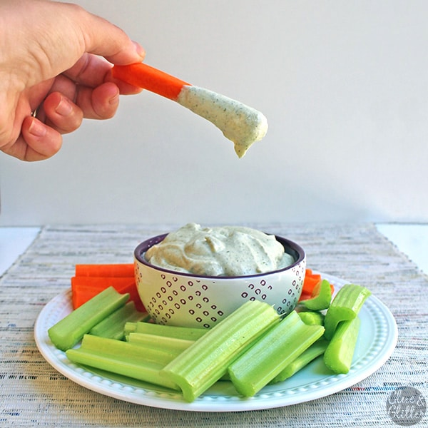 Vegan sour cream ranch party dip is quick and easy to make. It comes together in minutes, even if you're making the sour cream from scratch!