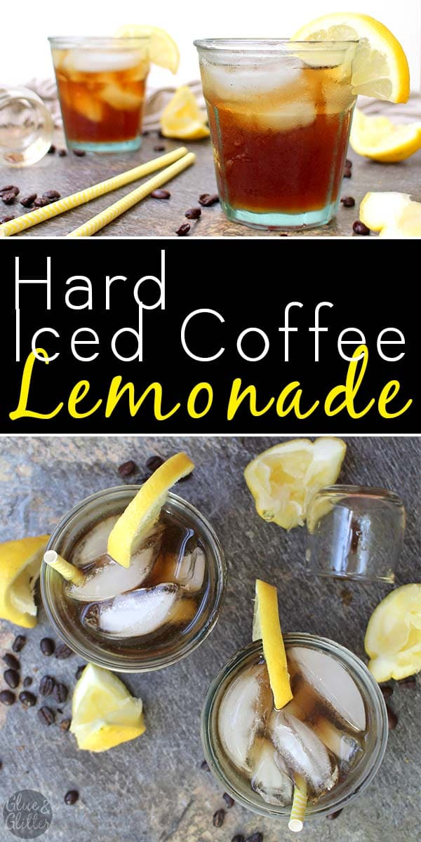 glasses of hard iced coffee lemonade on a table with yellow straws and lemon wedges, text overlay
