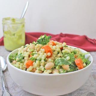 Israeli Couscous Salad with Creamy Avocado Dressing