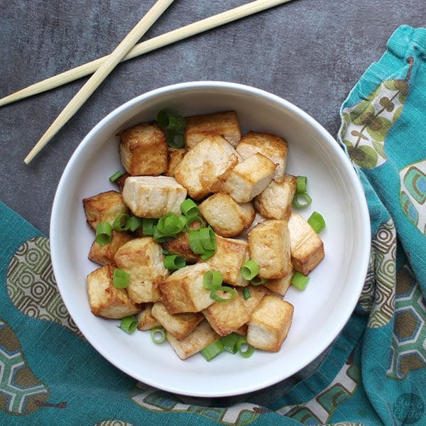 Crispy air fried tofu has the texture of deep fried without having to boil it in oil.