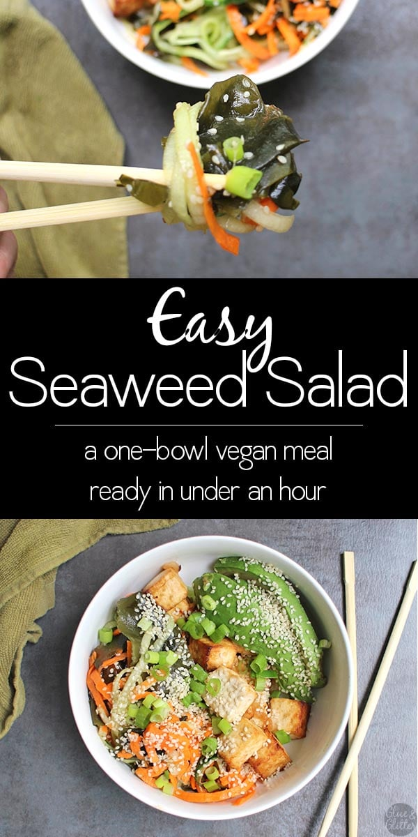 person taking a bit of seaweed salad with chopsticks, text overlay