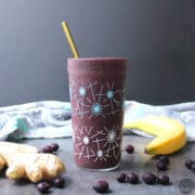 Sweet-and-spicy ginger blueberry green smoothie is a refreshing start to the day! If you've never added spice to a smoothie, this is a great place to start.