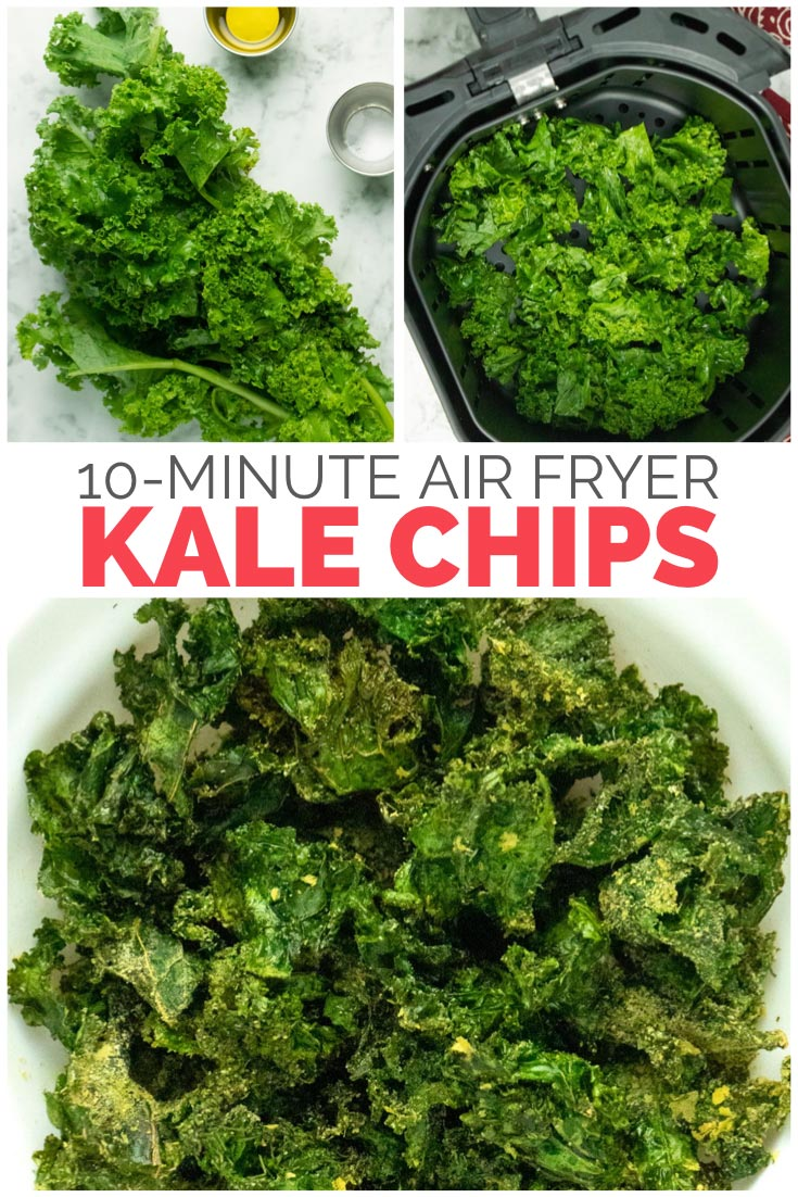 image collage of preparing kale for the air fryer and the finished kale chips