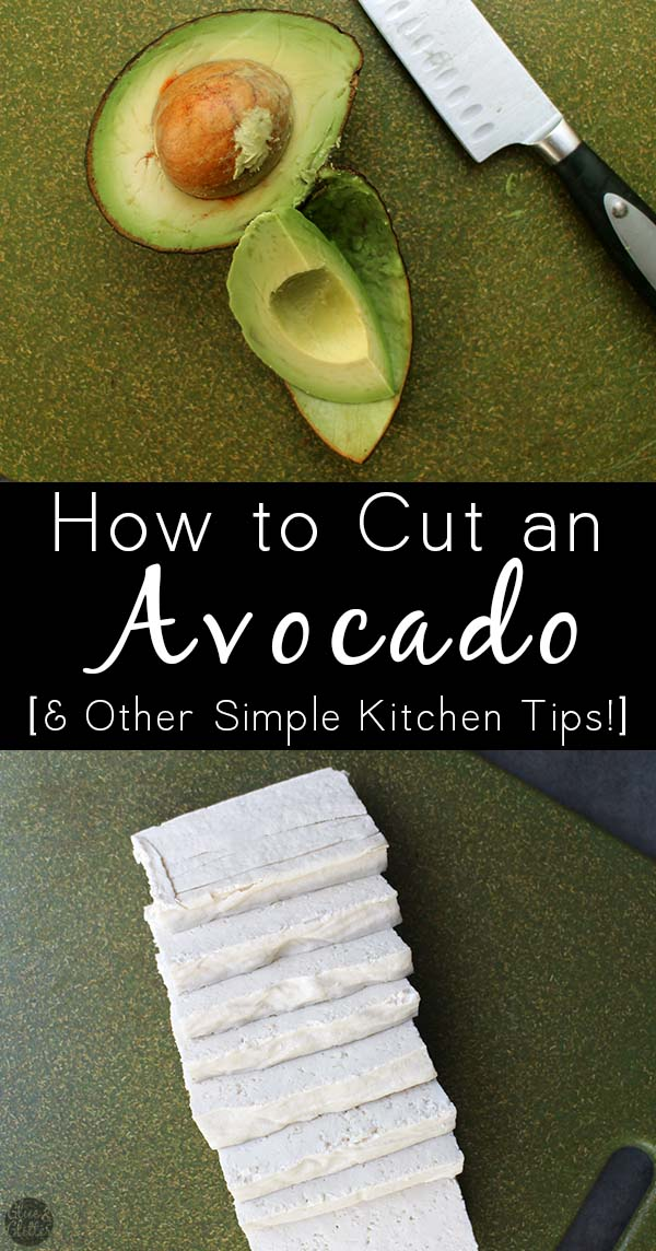 image collage of a cut avocado and sliced tofu with text overlay