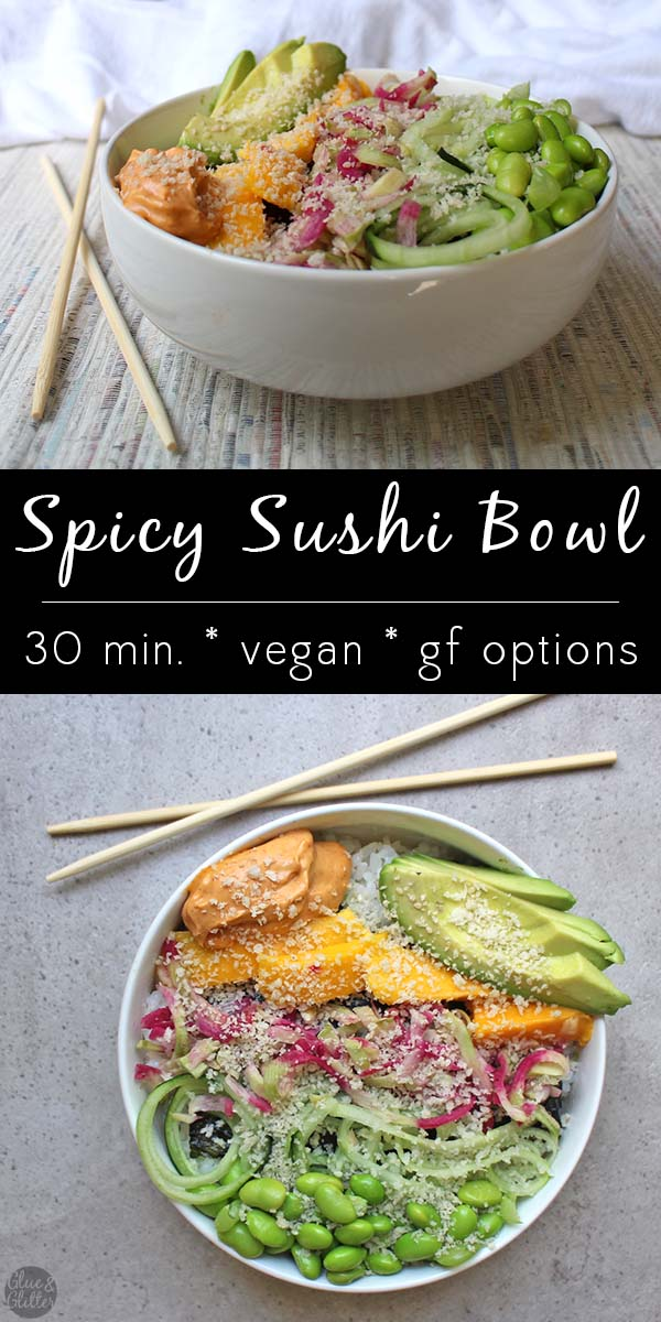 This fresh, flavorful spicy sushi bowl is like a deconstructed sushi roll, complete with edamame and homemade spicy mayo.