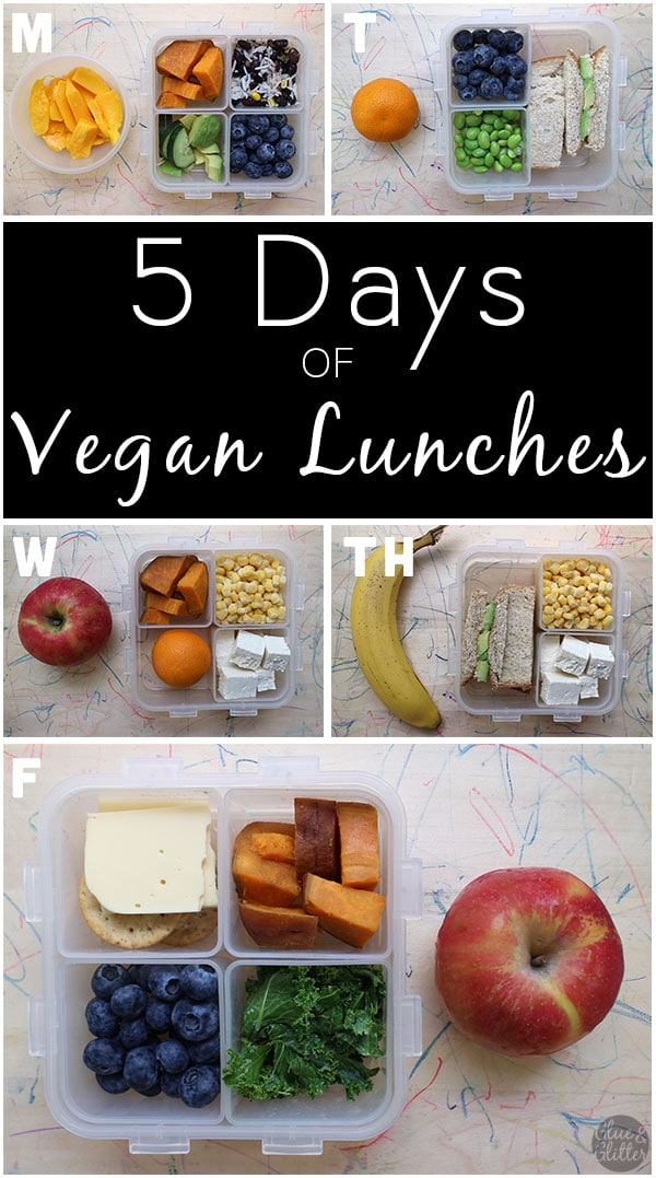 image collage of packed vegan lunch boxes, each with a different piece of fruit next to them.