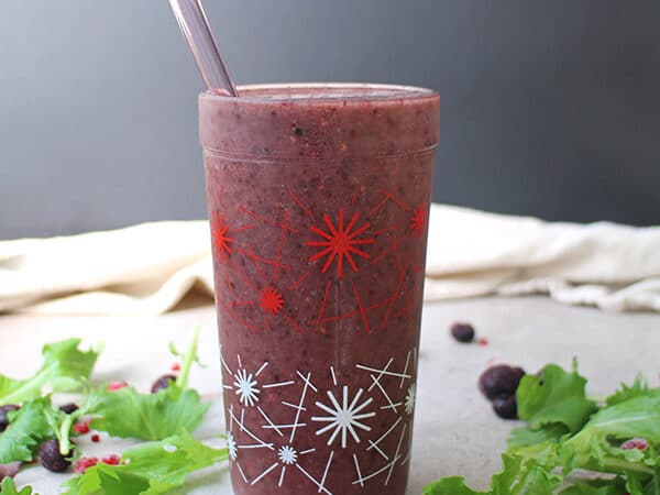 Mixed berries, sweet banana, and a little bit of gingery heat. This is a great smoothie to wake you up in the morning or to help you feel better if you're under the weather.