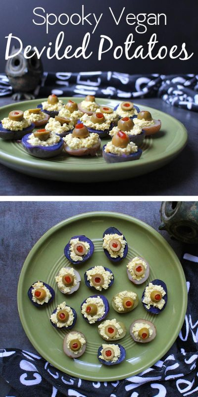 Vegan deviled potatoes are a spooky-yet-cruelty-free answer to deviled eggs. Tiny, adorable potatoes become creepy eyeballs in this vegan Halloween recipe.