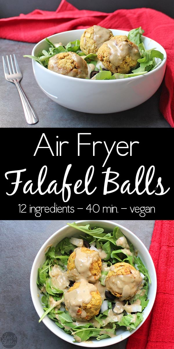 Air Fryer Falafel Balls are crunchy on the outside, soft on the inside, and perfect on salads or stuffed into a pita. Drizzle with homemade tahini dressing!