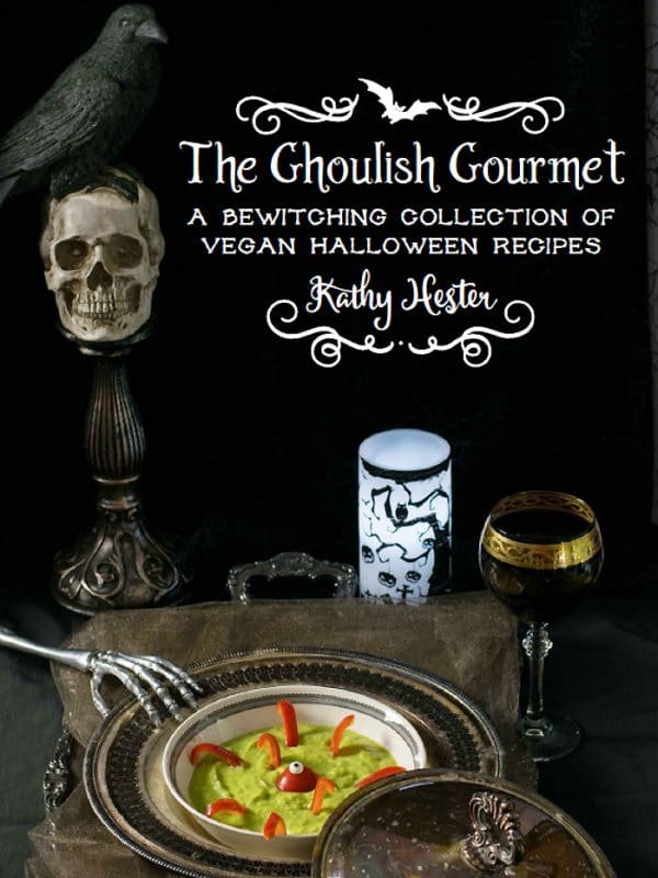 "cover of ""The Ghoulish Gourmet Vegan Halloween Recipes"" by Kathy Hester"