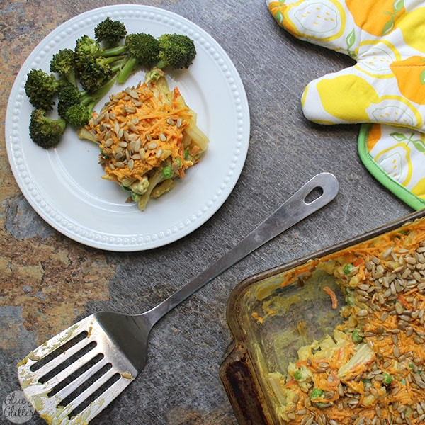 Rich, hearty vegan macaroni and peas casserole is a total pan of comfort food.