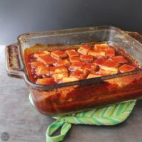 pan of twice-baked BBQ tofu, after baking