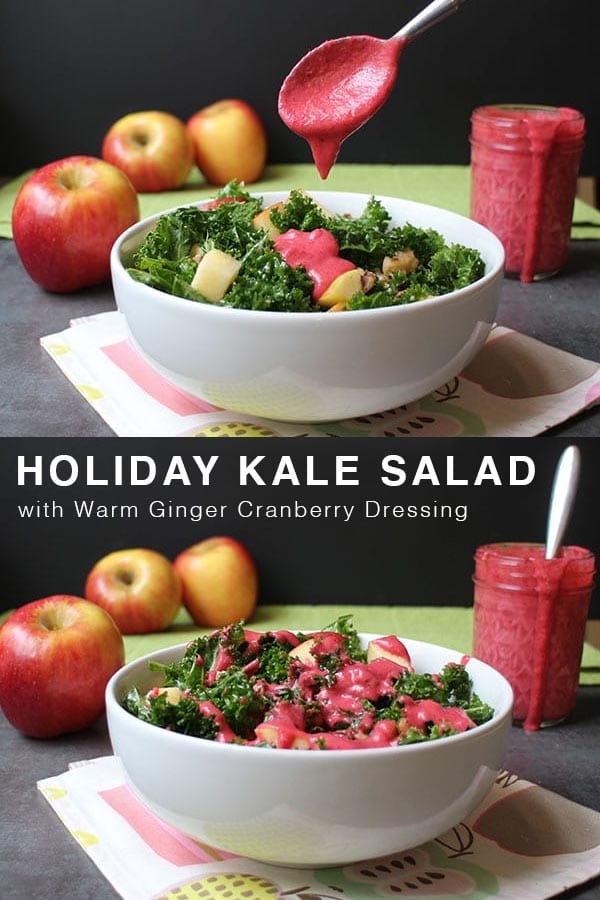 Holiday Kale Salad with Apples, Walnuts, and Warm Ginger Cranberry Dressing