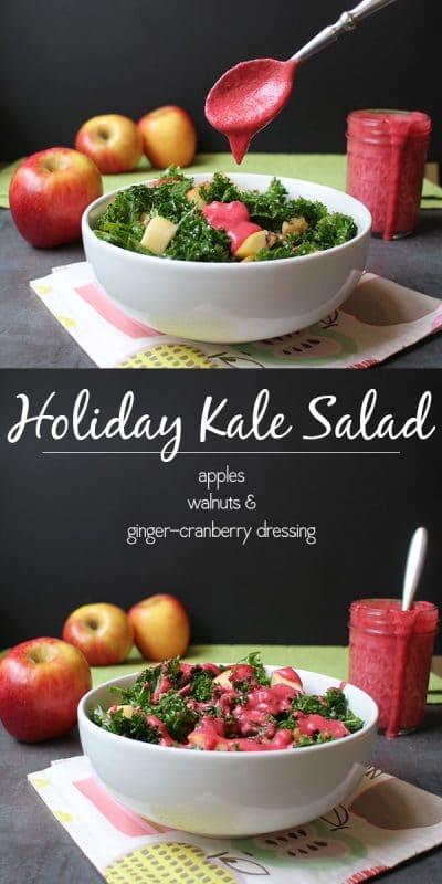 A hearty, warm, holiday kale salad recipe starring seasonal fruits and veggies. @autumngloryapple