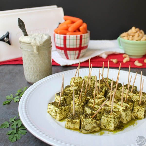 Citrusy, rich, Chimichurri Tofu Bites are a perfect finger food for holiday parties with creamy, homemade vegan ranch for dipping.