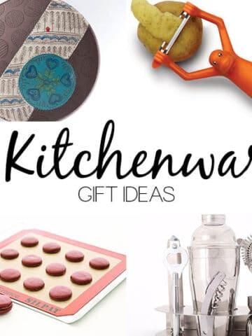 image collage of kitchenware gifts: serving plate, monkey-shaped vegetable peeler, silpat, bar set