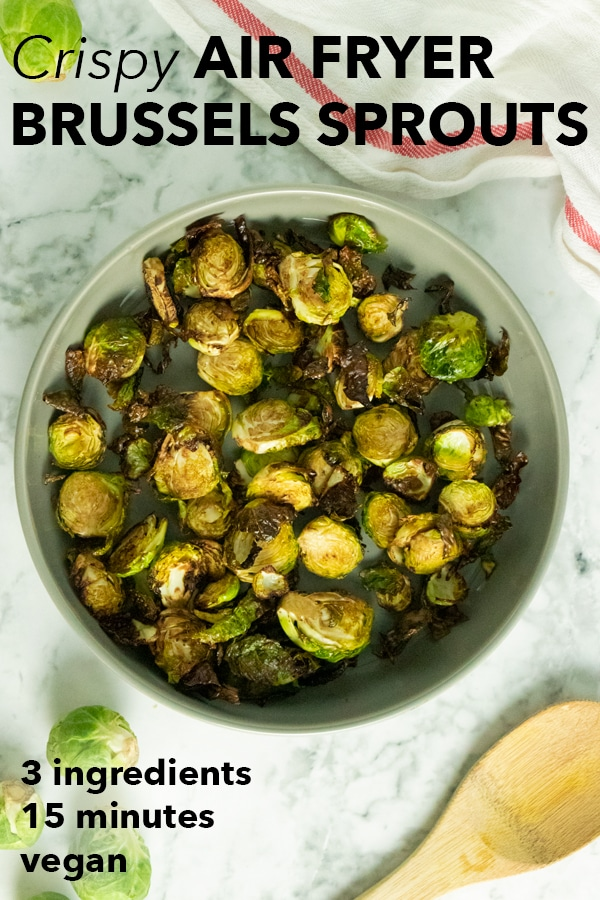 air fryer brussels sprouts in a serving bowl