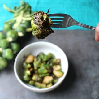 You guys, I am so excited to share my latest recipe: perfect, crispy-on-the-outside, tender-on-the-inside air fryer Brussels sprouts.
