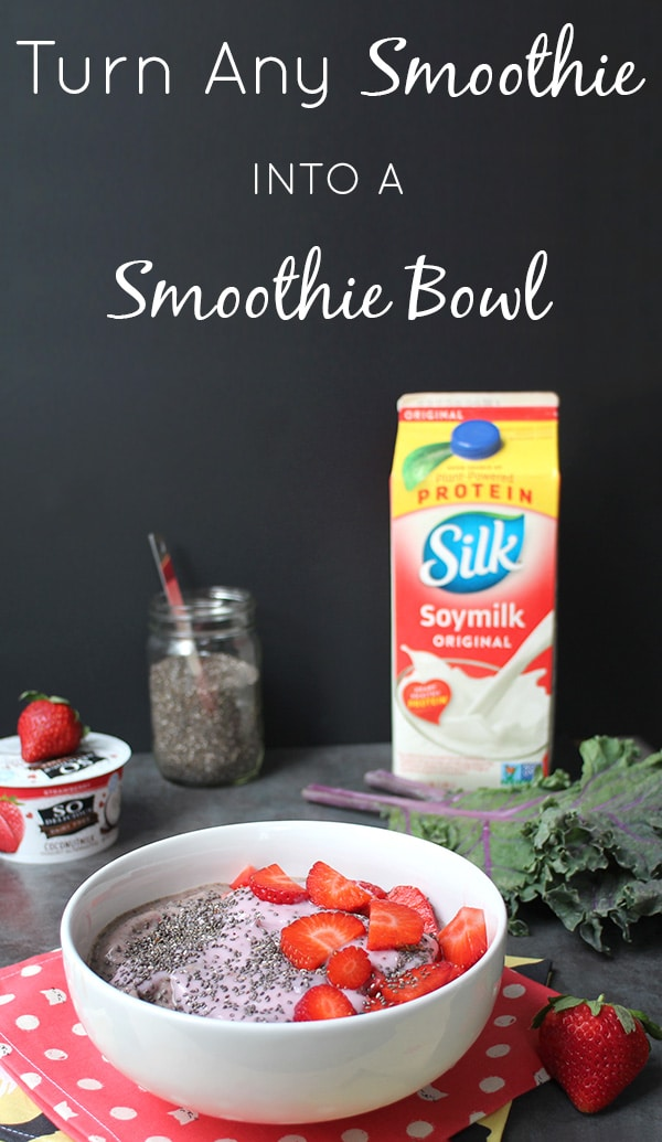 Smoothie bowls are super hip right now, and they are SO easy to make! Here's how to make a smoothie bowl from your favorite smoothie recipe. #WellnessYourWay #spon @kroger @LoveMySilk @SoDelicious