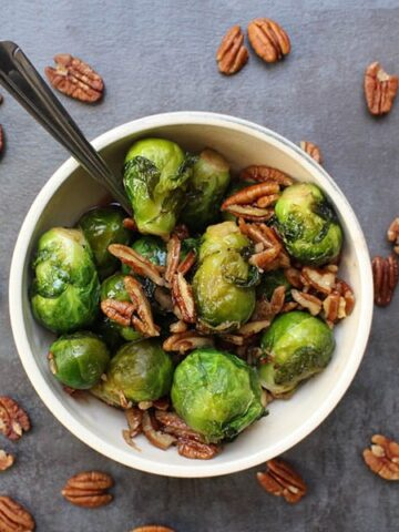 bowl of brussels sprouts with pecans