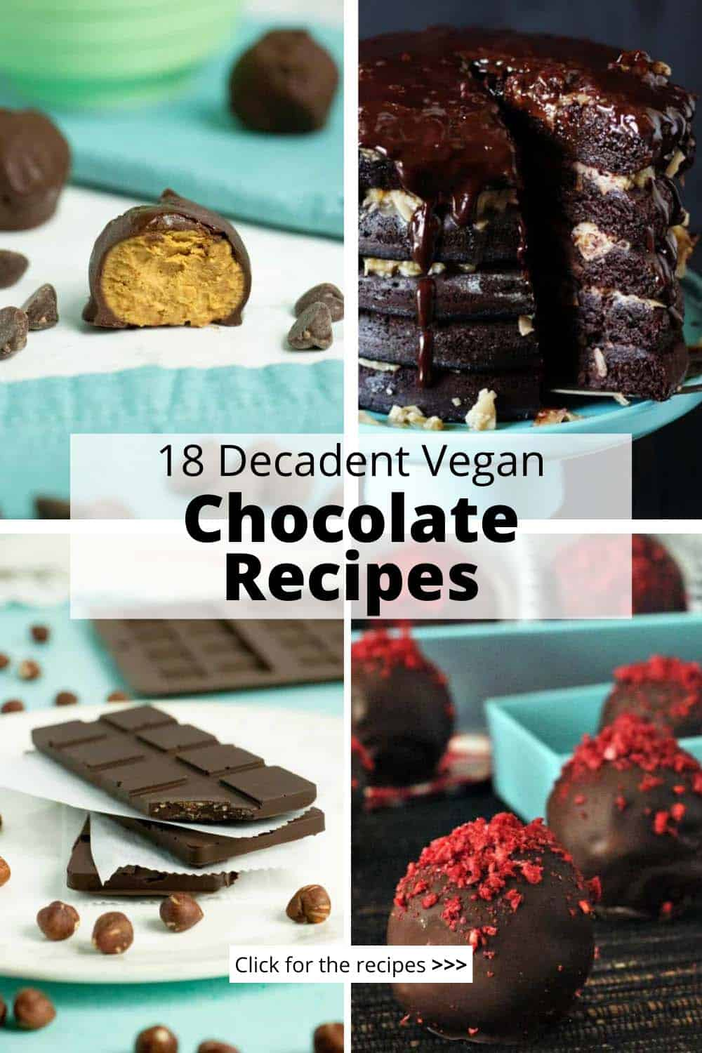 image collage of vegan chocolate recipes: peanut butter bites, cake, chocolate bar, truffles, text overlay