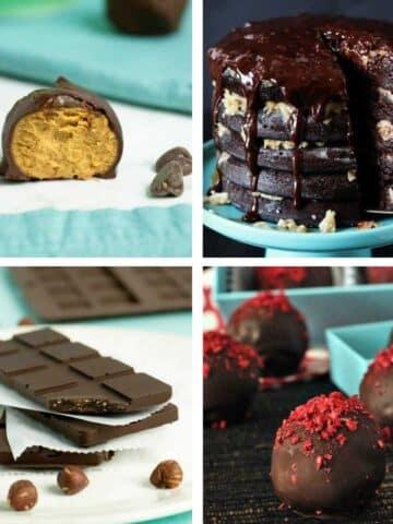 image collage of vegan chocolate recipes: peanut butter bites, cake, chocolate bar, truffles