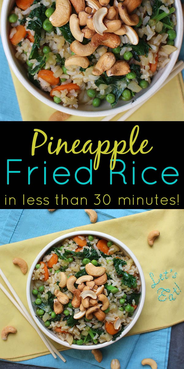 Pineapple fried rice is an old favorite take out dish of mine. This vegan version is a little bit healthier than the restaurant version and comes together in less time than it takes a food delivery to get to your doorstep.