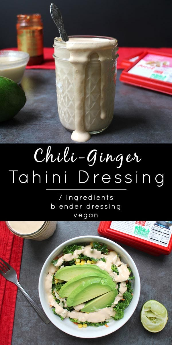 Spicy, rich, Chili-Ginger Tahini Dressing is delicious on salads or drizzled over your next comfort bowl. And you make the whole shebang in your blender! @MyDorot #ElevateYourPlate #ad