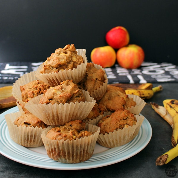 vegan banana apple muffins on a plate