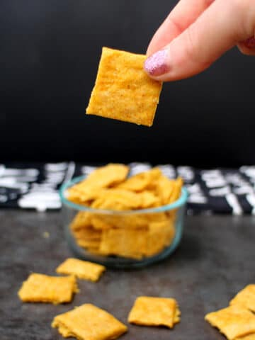 Vegan Cheesy Crackers are crunchy, savory, and remind me of vegan Cheese-Its, but without the animal cruelty.
