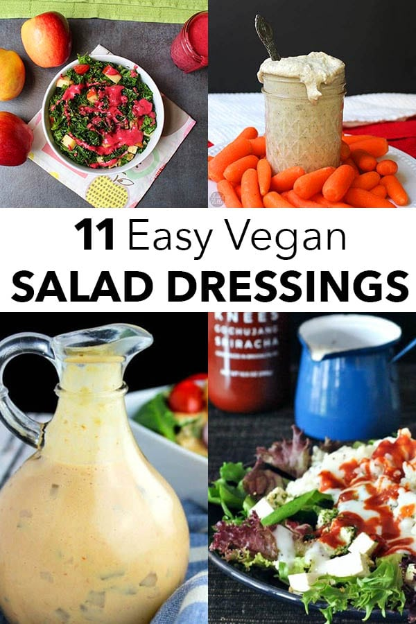 image collage of vegan salad dressing recipes: cranberry vinaigrette, cashew ranch, thousand island, and creamy poppyseed