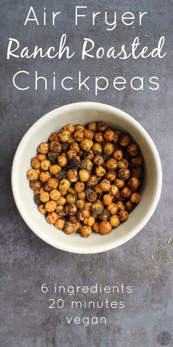 Ranch Seasoned Air Fryer Chickpeas are simple to make and super delicious! You only need six ingredients and less than half an hour to make them. #airfryer #chickpeas #vegan