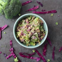 I've been making this Vegan Broccoli Slaw once a week lately. It couldn't be simpler, and it's such a crowd-pleaser!