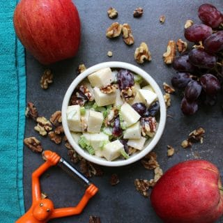 Vegan Waldorf Salad is a sweet, crunchy mix of fruit, veggies, and walnuts in tangy, creamy sauce. And you only need seven ingredients to make it!