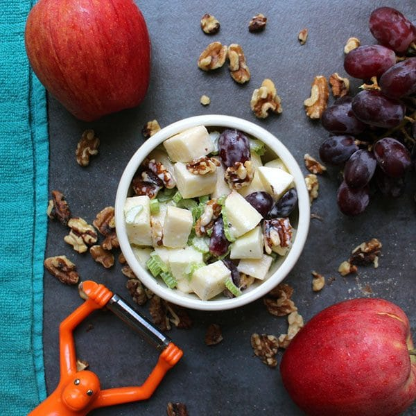 overhead photo of vegan waldorf salad