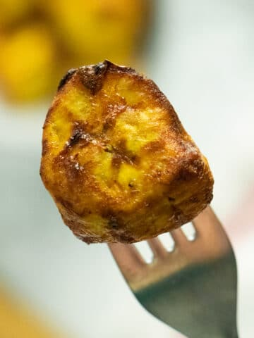 close-up of a plantain piece on a fork