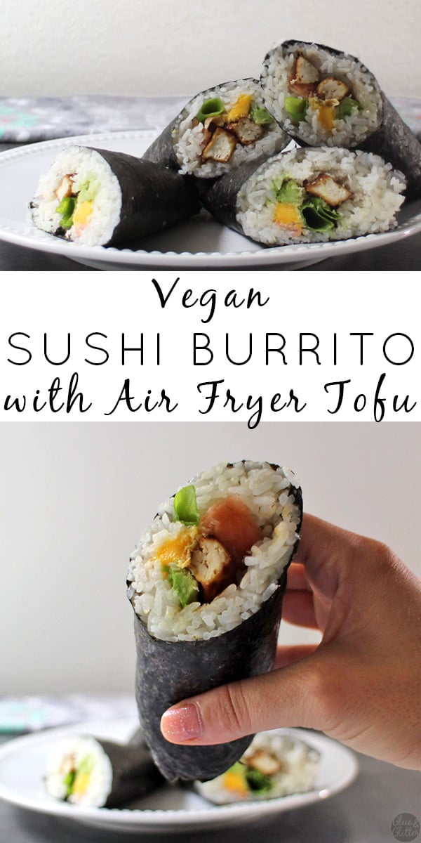 image collage of sushi burritos from different angles on a plate
