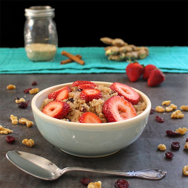 This Fruit & Nut Quinoa Breakfast Bowl is a healthy, satisfying way to start the day. Just simmer everything on the stove for a few minutes, and you're ready to eat!