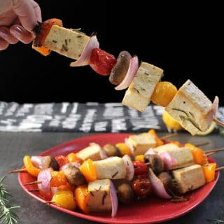 Baked Tofu Veggie Skewers with Lemon-Rosemary Marinade